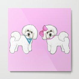 Bichon Frise friends on pink Metal Print