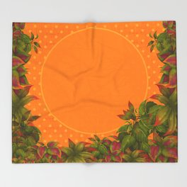 """Plants & Orange Polka Dots"" Throw Blanket"
