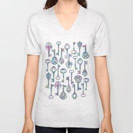 Pastel Skeleton Keys Unisex V-Neck