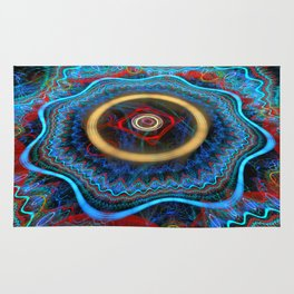 Grunge Colourful Whirly Abstract Rug
