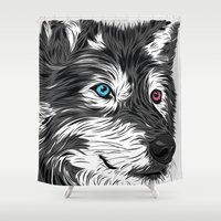 gray Shower Curtains featuring Gray wolf by Roland Banrevi