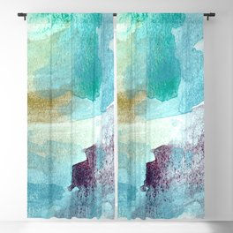Abstract Waves, Brushed Watercolor Aqua Blue Blackout Curtain