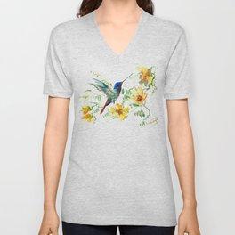 Hummingbird and Flowers, floral design Hawaiian tropical Unisex V-Neck
