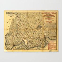 Street Map of Brooklyn, New York (1874) Canvas Print
