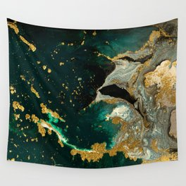 Abstract Pour Painting Liquid Marble Abstract Dark Green Painting Gold Accent Agate Stone Layers Wall Tapestry