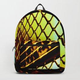 Abstract Cross Processed Sea Foam Green Metal Gate Store Shutter Backpack