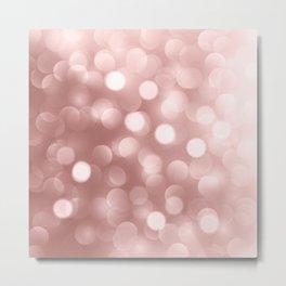 Elegant faux pink rose gold bokeh lights Metal Print