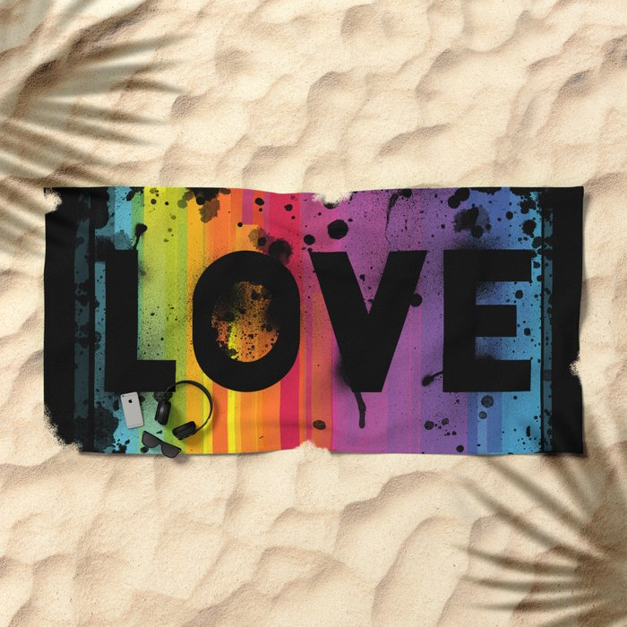 For Love - Black Background Beach Towel