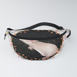 Beautiful nosey Mouse with flower background- Animal - mice - flowers Fanny Pack