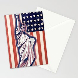 Patriotic Lady Liberty Digital Artwork Stationery Cards