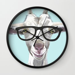Goat with Glasses, Cute Farm Animal Wall Clock