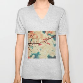 Autumn (Leafs in a textured and abstract sky) Unisex V-Neck