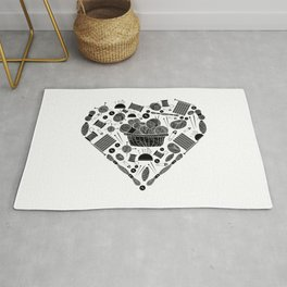 I Love Knitting | Wool Needle Heart Sewing Hobby Rug