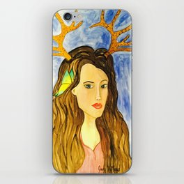 Woodland Sprite with antlers iPhone Skin