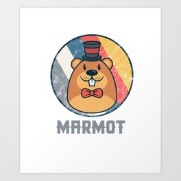 Vintage Cute Wildlife Marmot Colorful Retro Animals Art Print