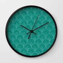 Teal Fancy Scales Wall Clock