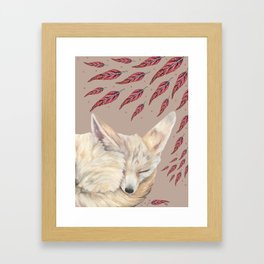 Fennec Fox Feather Dreams in Taupe Framed Art Print