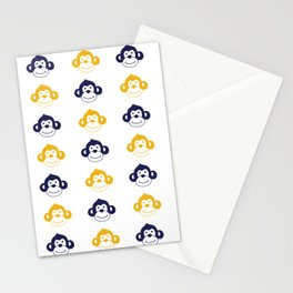 Cute monkies in musterd yellow and dark blue Stationery Cards