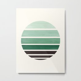 Deep Green Mid Century Modern Minimalist Circle Round Photo Staggered Sunset Geometric Stripe Design Metal Print