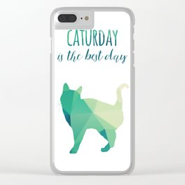 Caturday is the Best Day - green Clear iPhone Case