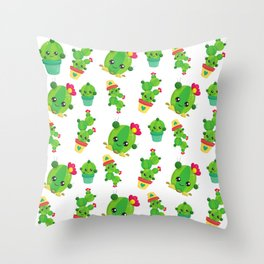 Cactus Pattern, Cute Cactuses, Smiling Cactuses Throw Pillow