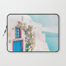 Santorini Greece Cozy blush travel photography in hd. Laptop Sleeve