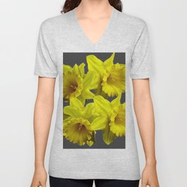YELLOW SPRING DAFFODILS & CHARCOAL GREY COLOR Unisex V-Neck