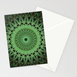 Green glowing mandala Stationery Cards