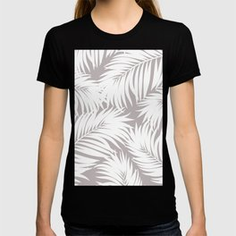 Palm Tree Fronds White on Soft Grey Hawaii Tropical Décor T-shirt