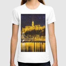 Budapest Chain Bridge And Castle Art T-shirt
