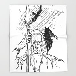 Odin the Wise Throw Blanket