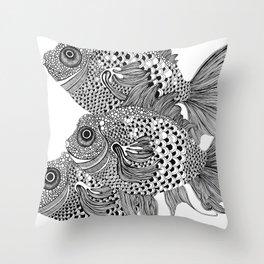 Three White Fish Throw Pillow