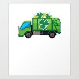 Clover Truck St Patricks Day Full Green Shamrock Art Print