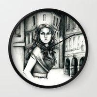 les miserables Wall Clocks featuring Les Miserables Portrait Series - Eponine by Flávia Marques