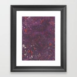 Purple Red Scalloped Marbling Framed Art Print