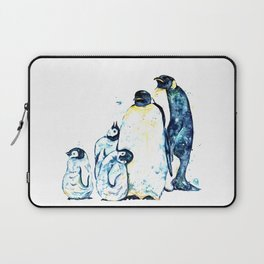Penguin Family of 5 Watercolor Painting Laptop Sleeve
