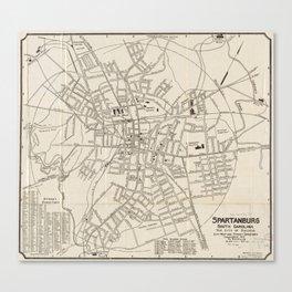 Vintage Map of Spartanburg SC (1918) Canvas Print