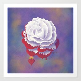Painted Rose cut out Art Print