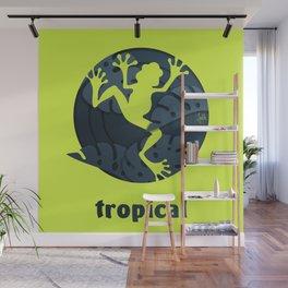 Tropical Frog Papercut Design Wall Mural
