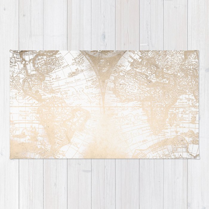 Antique white gold world map rug by naturemagick society6 antique white gold world map rug gumiabroncs Image collections