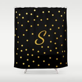 S Black and Gold Shower Curtain