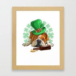 Drunk Bulldog St. patricks Day Framed Art Print