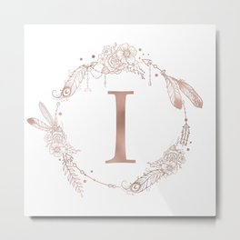 Letter I Rose Gold Pink Initial Monogram Metal Print