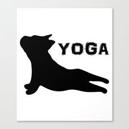 Cute French Bulldog. Yoga Puppy Canvas Print