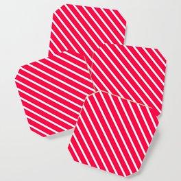 Neon Pink Diagonal Stripes Coaster