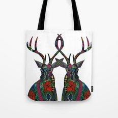 poinsettia deer white Tote Bag