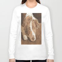 border collie Long Sleeve T-shirts featuring Border Collie Puppy Wren by Yvonne Carter