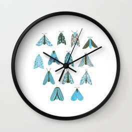 Blue Moth Wall Clock