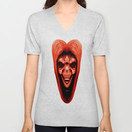 Red Haired Skull Unisex V-Neck