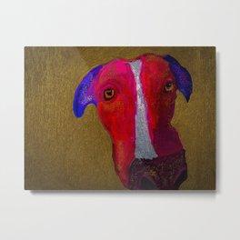 Vivid wonky dog oil painting Metal Print